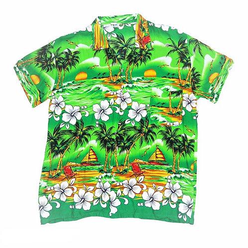 Vintage Green Hawaiian Print Summer Shirt