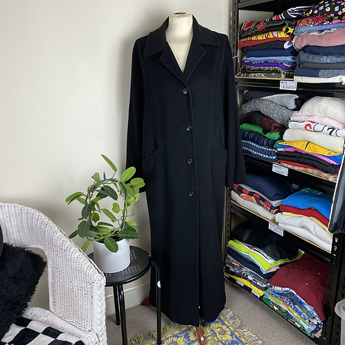 Full Length Black Button Up Coat