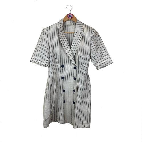 White Pin Striped Button Up Short Sleeve Blazer Jacket