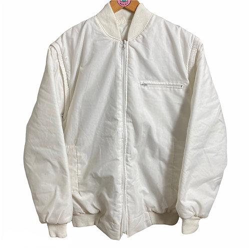 Rare Vintage Retro White Bomber - Removable Sleeves