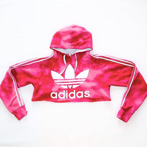 Reworked Pink Adidas Cropped Hoodie