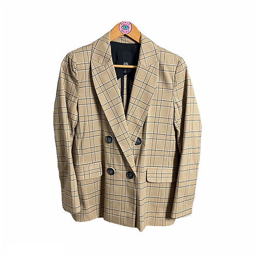Beige Checkered Button Up Blazer