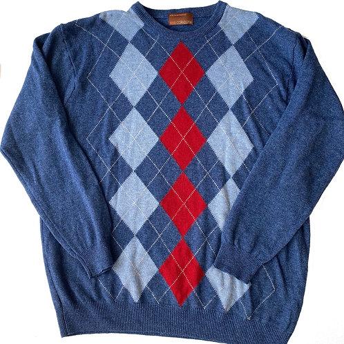 Vintage Wool Argyle Navy Knit Jumper