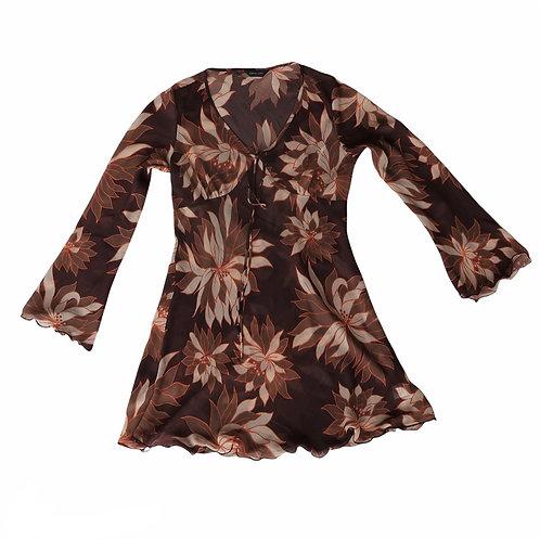 Brown Floral Transluscent Flared Dress