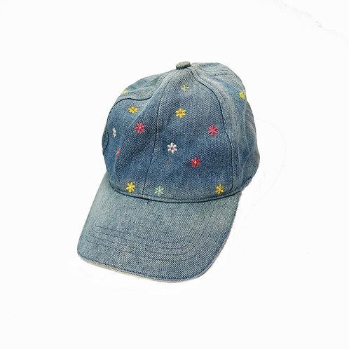 Vintage Denim Floral Embroidered Baseball Cap