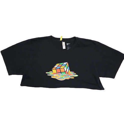 Reworked Cropped Melted Rubix Cube Graphic Print Tee