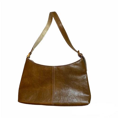 Tan Faux Leather Small Handbag