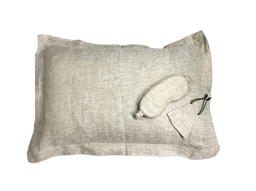 OLD VILLAGE OVERSEAS 100% PURE  LINEN  PILLOW COVER EYE COVER & FACE MASK