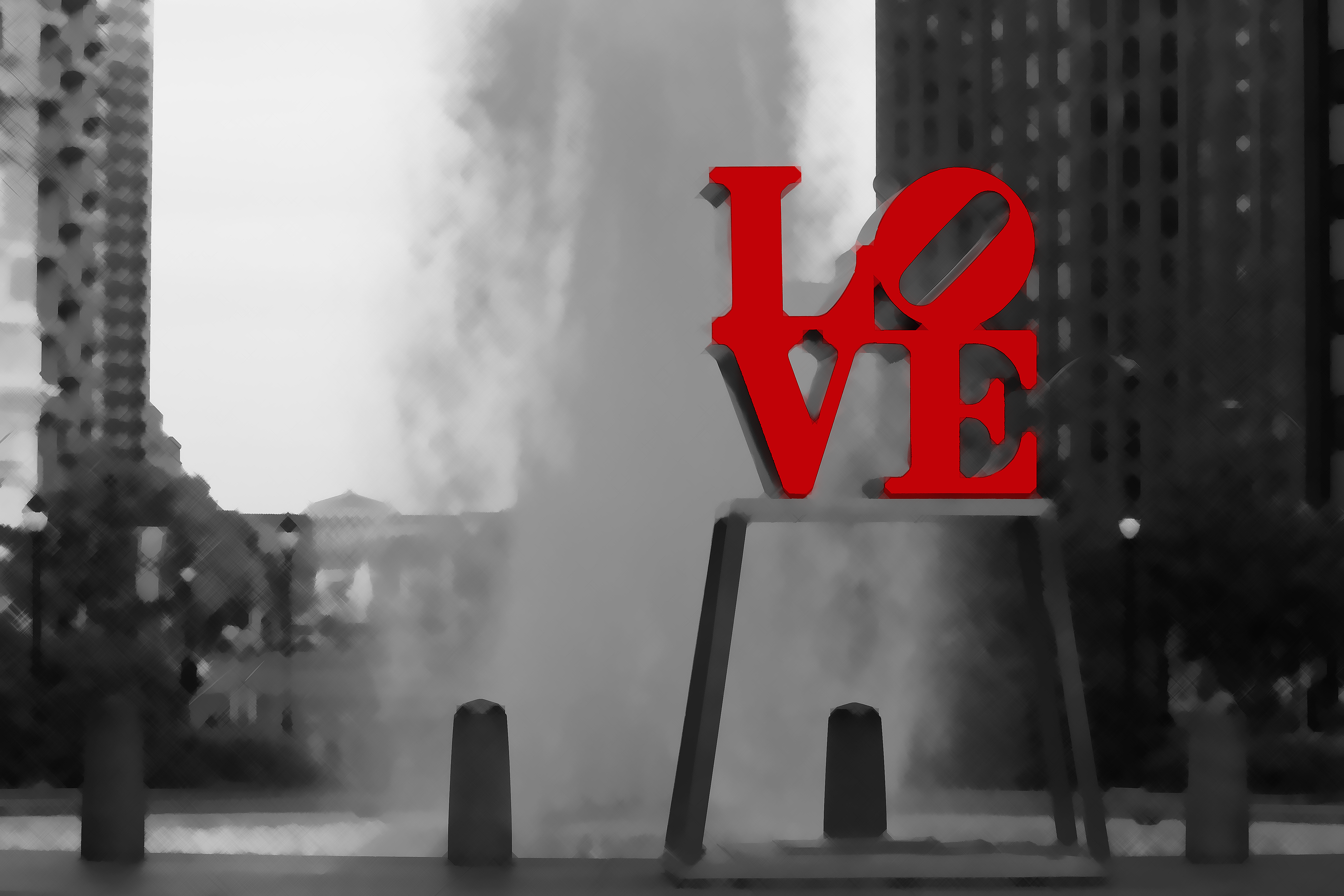 Love Park All Red - Brushed