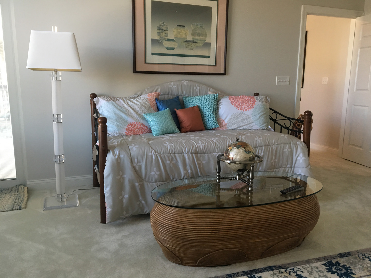 living room with cushions