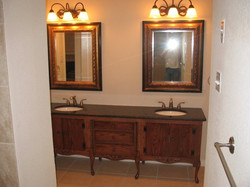 Master bath with handmade cabinet
