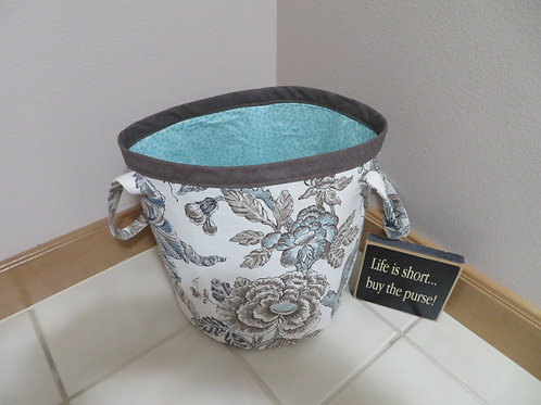 Blue and gray floral with gray top and light blue interior