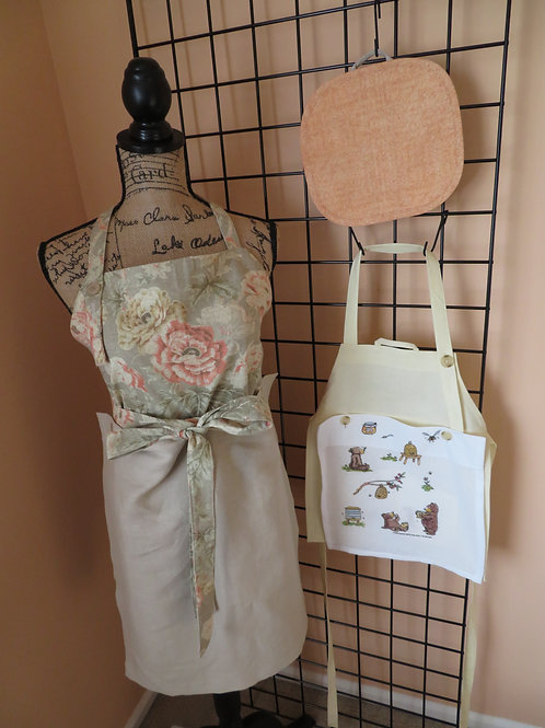 Adult and Child linen aprons with complimentary pot holder