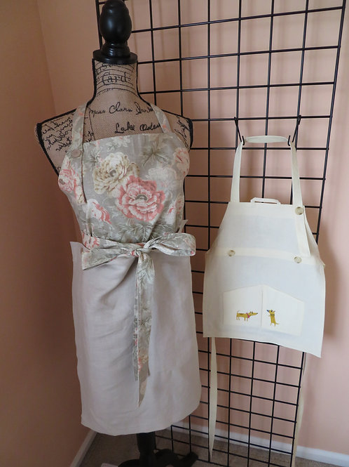 Adult and Child linen aprons