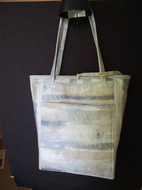 Quilted Tote with ombrey of gray and gold