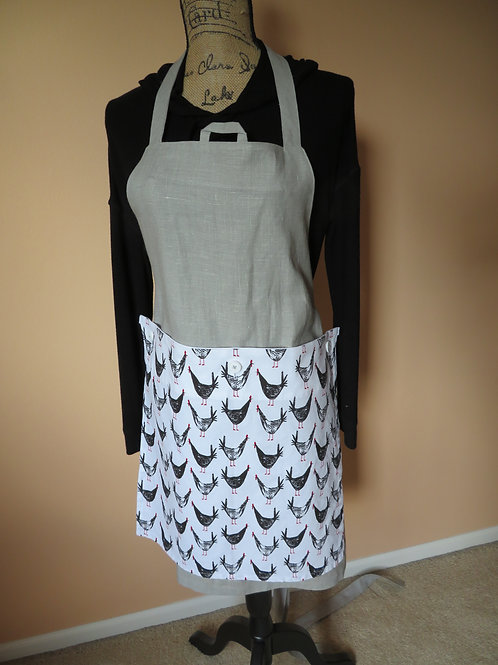 Light Grey linen apron with detachable chicken/rooster tea towel