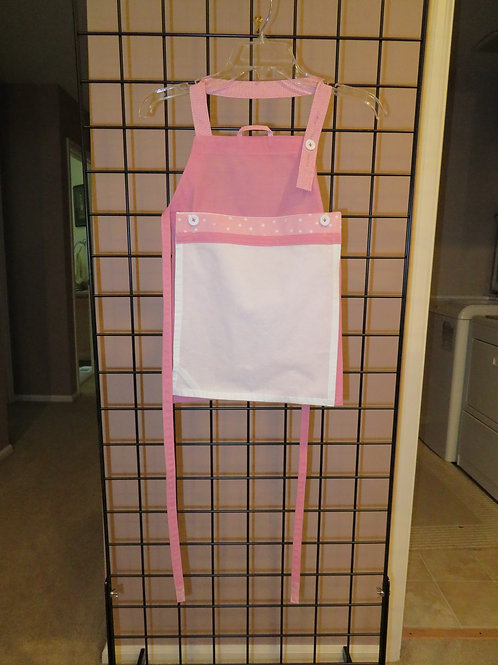 Pink Child's Apron with white tea towel