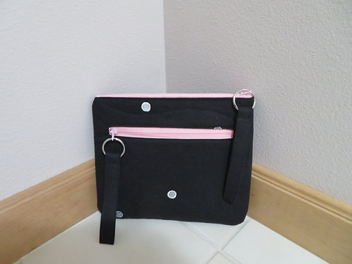Black linen clutch
