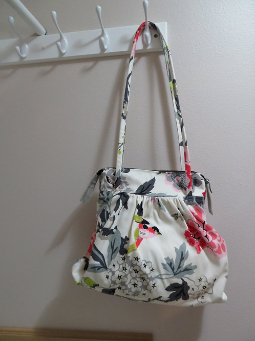 Bird and floral print with zippered top