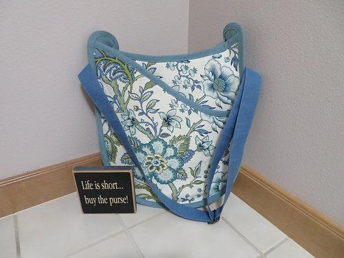 Blue Floral with linen trim