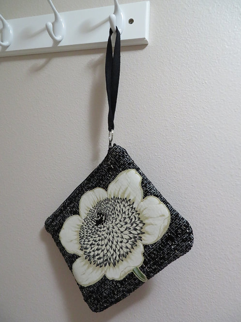 Summer Flower  on black and white tweed