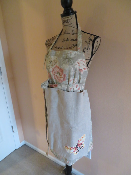 Pink floral linen apron with detachable panel with butterfly