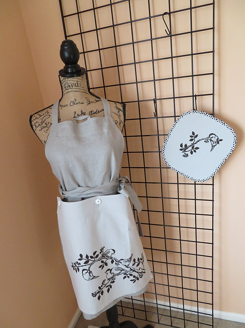 Adult Gray Brown linen with pattern and complimentary pot holder