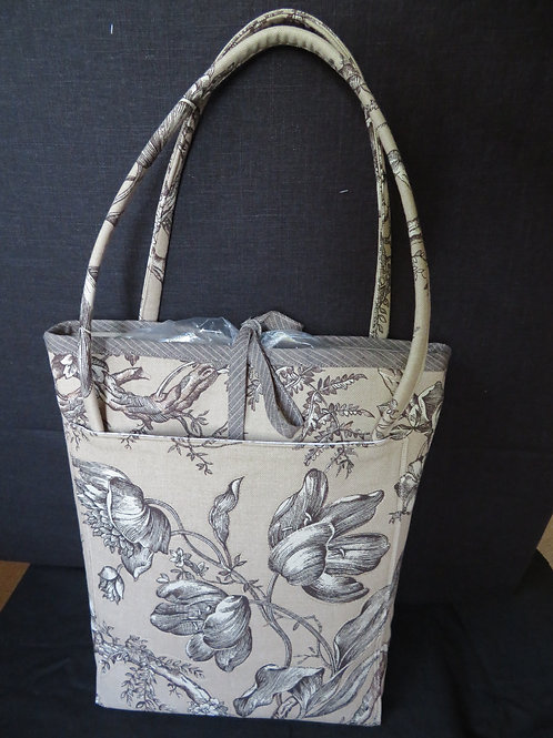 Uptown Market Tote and accessory bag in brown linen floral pattern