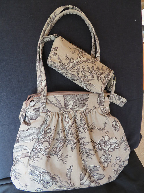 Autumn Tulips purse with accessory bag in brown floral print