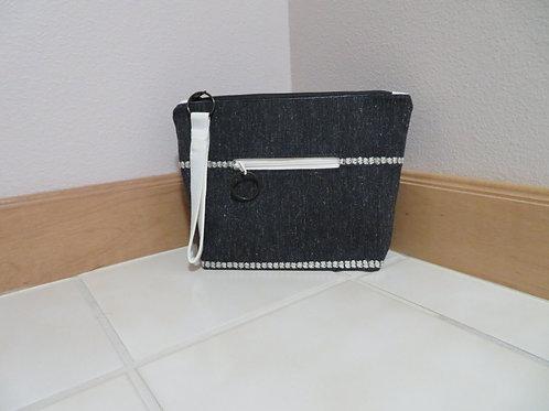 Dark Gray with white stripe accessory pouch