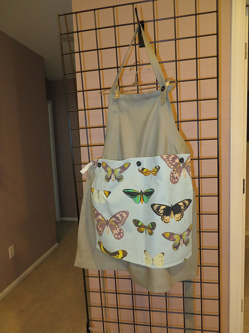 Gray linen apron with butterfly detachable towel