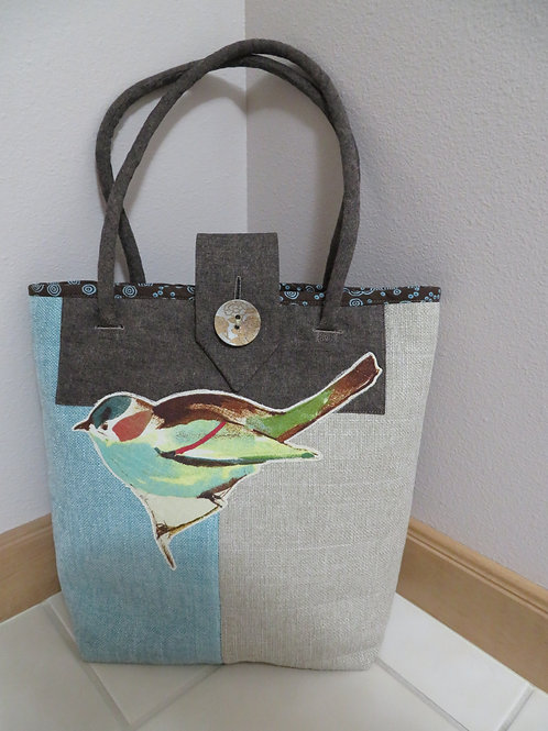 Uptown Market Tote- Blue Turquoise and Beige with appliqued bird
