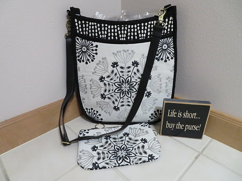 Black/White with snowflake with matching clutch