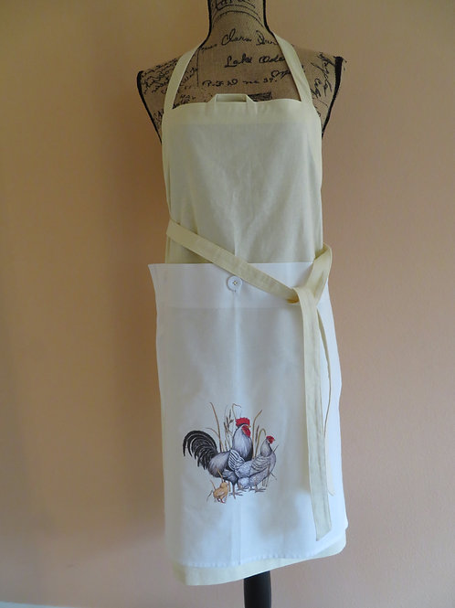 Cream color linen apron with detachable towel with rooster and hen