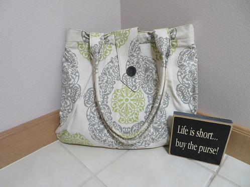 Green/Gray pattern with button closure