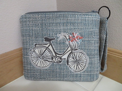 Blue Tweed with Bicycle Applique