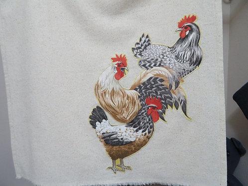 Roosters tea towel