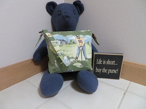 Golf bag with blue zipper
