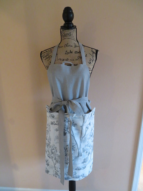 Gray linen apron with detachable gray and blue floral towel