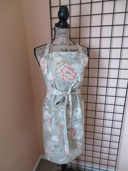 Floral print on Gray Brown linen apron