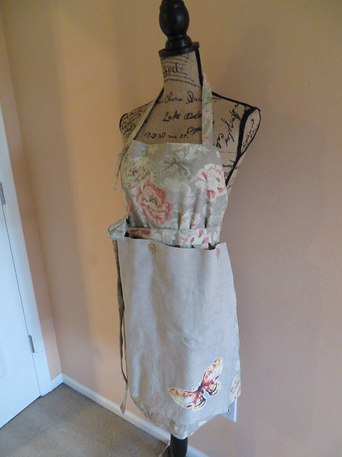 Pink floral linen apron with detachable towel with butterfly
