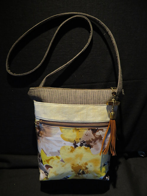 Yellow floral print with pinstripe top and matching strap