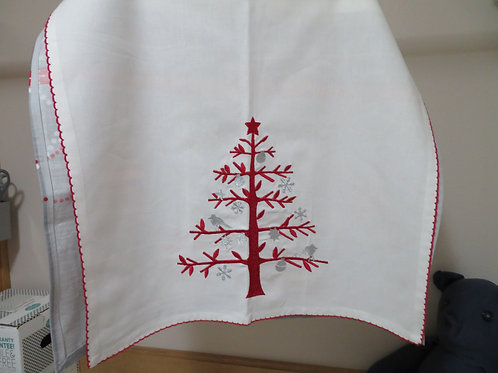Red Christmas tree with gray birds and snowflakes
