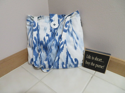 Blue Ikat with button Closure
