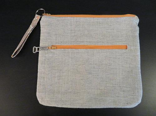 Gray with Orange zippers