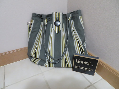 Gold and Gray pleated with vertical stripes with buttton closure