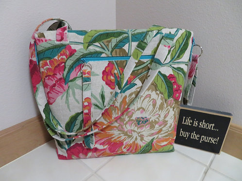 Summer Floral with teal zippers