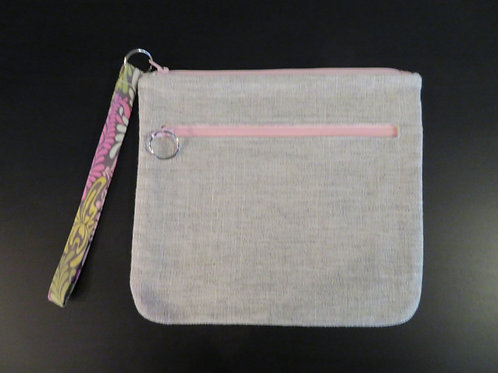 Gray with Pink Floral zipper pull on top
