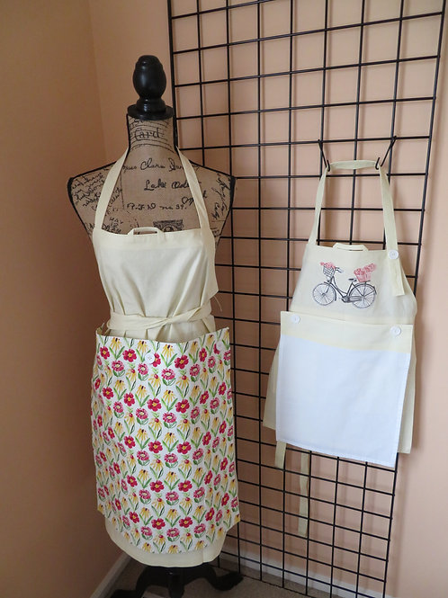 Adult and Child linen aprons with 2 towel panels for each
