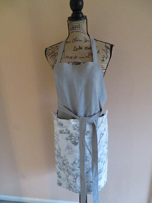 Gray linen apron with detachable gray floral towel